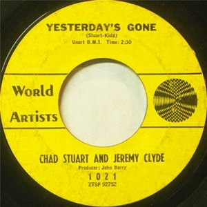 """45rpm record of """"Yesterday's Gone"""" by Chad and Jeremy"""