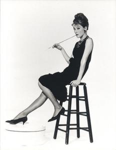 Actress Audrey Hepburn wearing a shift dress