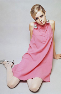 British model Twiggy wearing a pink shift