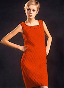 British model Twiggy in a red shift