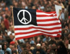 Peace Flag at Anti-Vietnam War Protest